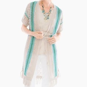 Chico's fringe teal and beige cardigan